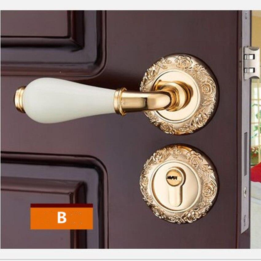 Модный механический замок для межкомнатной двери с Золотой резной розой, бронзовый, слоновой кости, белый, для спальни, кухни, из цельного дерева, для двери, керамический замок с ручкой - Цвет: B locks