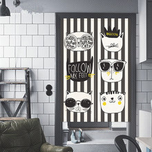 Cartoon Animals Nordic Style Print Linen Cotton Curtain Door Kitchen Study Cloakroom Kids Room Decoration