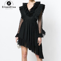 New Lady Elegant Ruffles Dresses Asymmetrical Dress Female Deep V Neck Black Dress with Long Sleeves