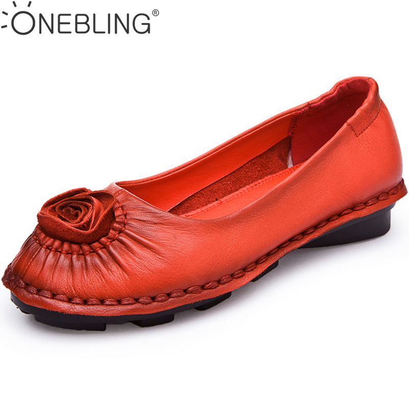 ONEBLING Genuine Leather Flower Women Shoes 2017 Spring Autumn Fashion Sewing Casual Flat Shoes Slip-on Single Shoes Soft fashion bow tie women shoes 2017 spring autumn slip on woman genuine leather single shoes solid casual flat shoes size 35 40