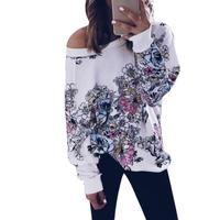 Women Casual Fashion off Shoulder Digital Printing O-Neck Top Wear Long Sleeve T-shirt  Spring SUmmer T-shirt FREE POST