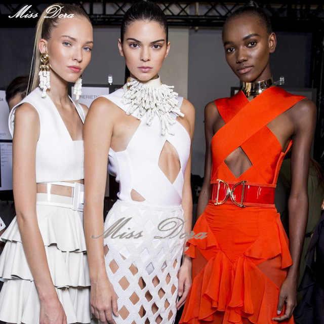 Сексуальное Белое трикотажное клетчатое платье женские бандажные платья без спинки модное вечерние Подиумные модные шоу вдохновленное Сетчатое платье