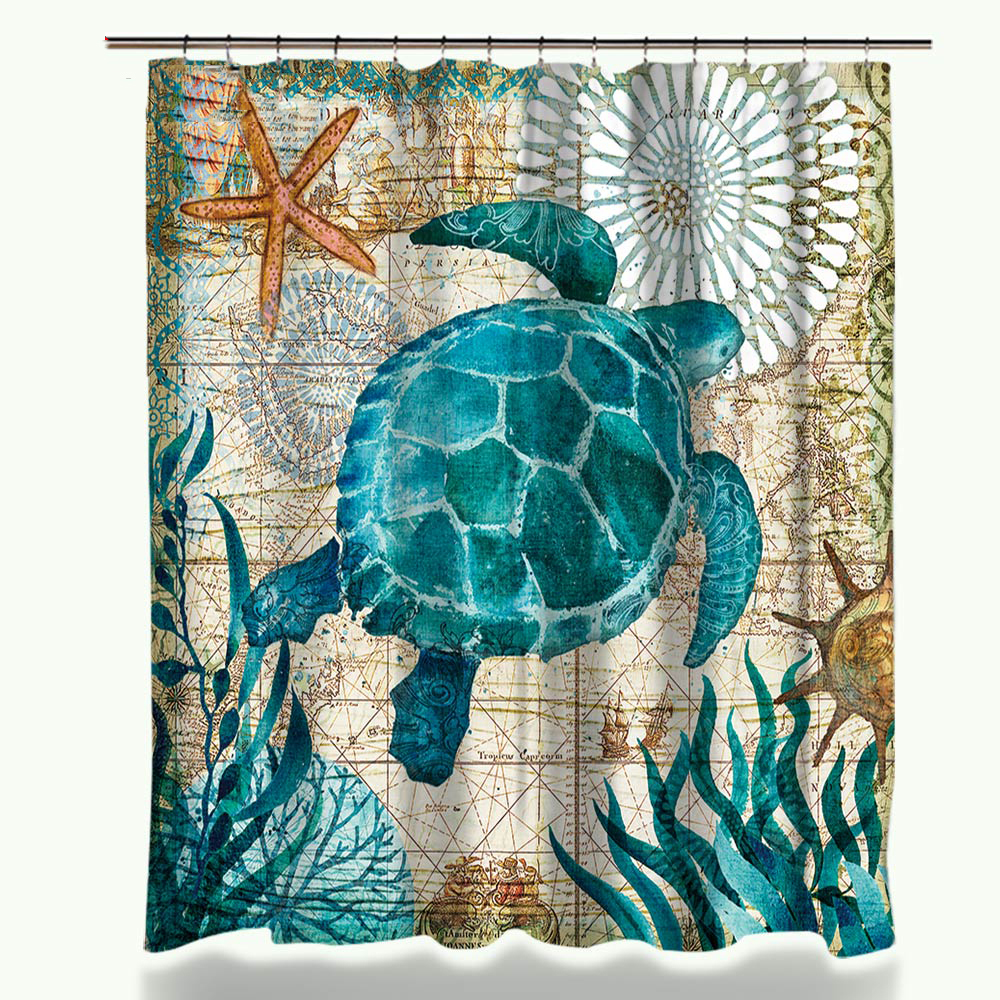 Aliexpress.com : Buy Miracille Sea Turtle Waterproof Shower Curtain Octopus  Home Bathroom Curtains With 12 Hooks Polyester Fabric Bath Curtain From  Reliable ...