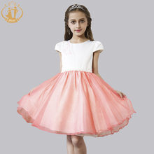 Summer Autumn Girls Clothes Vestidos Short Sleeves Appliques Flowers Bow Pearls Girl Dress for Birthday Party