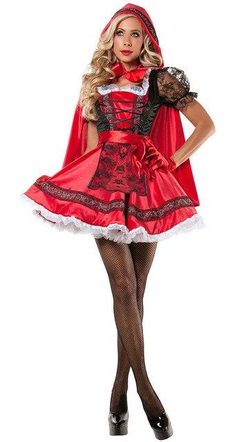 2017 Halloween Erwachsene Frauen Rotkappchen Kostum Marchen Uniform Hen Party Outfit