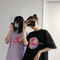 Summer korean casual loose purple Tshirt Women Letter T-shirts Printing Funny Tee Shirt For Female Top Clothes Short Sleeve Tees 2