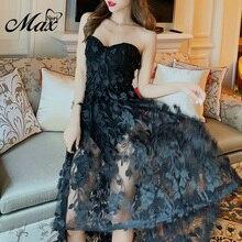 Max Spri 2019 New Vestidos Women Sexy Strapless Sleeveless Floral Lace Mesh Gown Elegant Party Club Summer Ruffles Dress