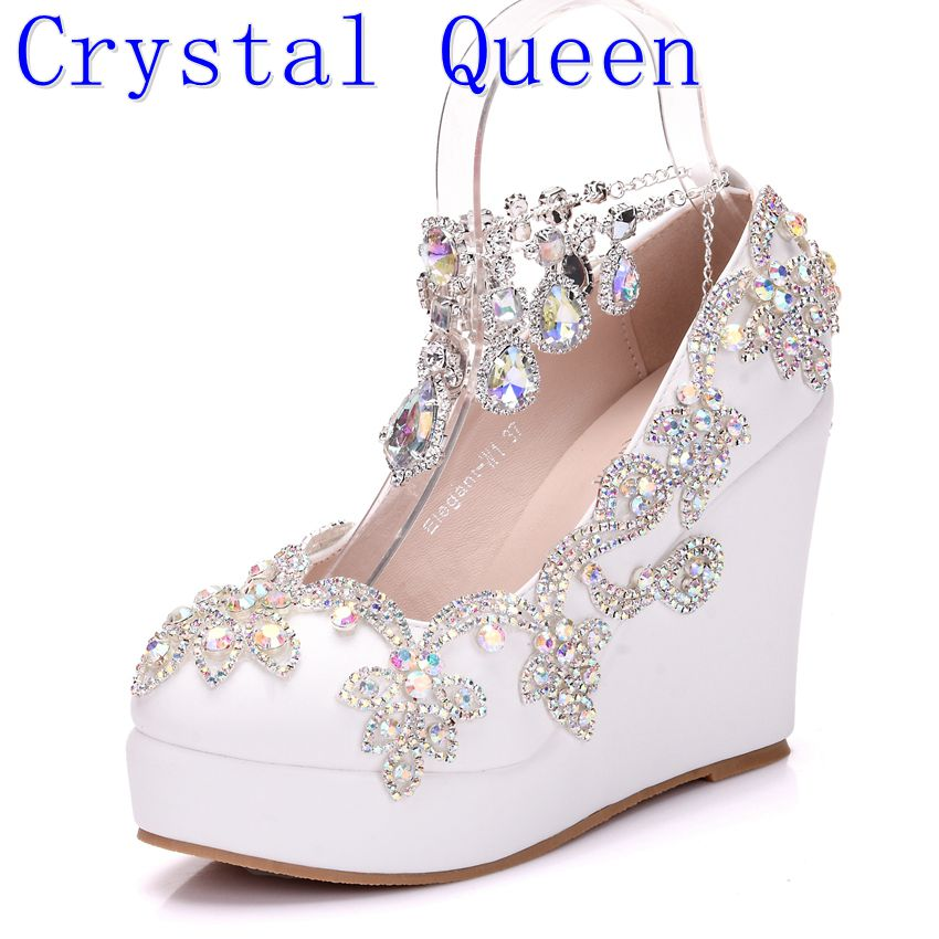 Crystal Queen New Fashion Rhinestone Wedges Pumps Shoes Women Sweet Luxury Platform Wedges Shoes Wedding heels