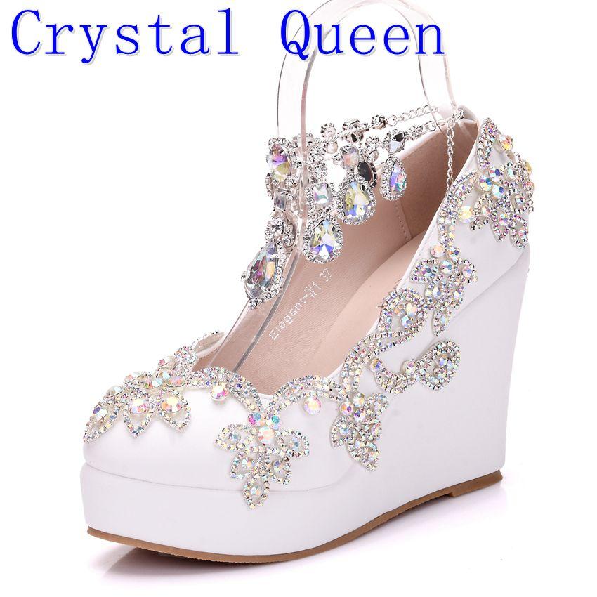 Cristal Reine Nouvelle Mode Strass Coins Pompes Chaussures Femmes Doux De Luxe Plate-Forme Cales Chaussures De Mariage talons Hauts Talons