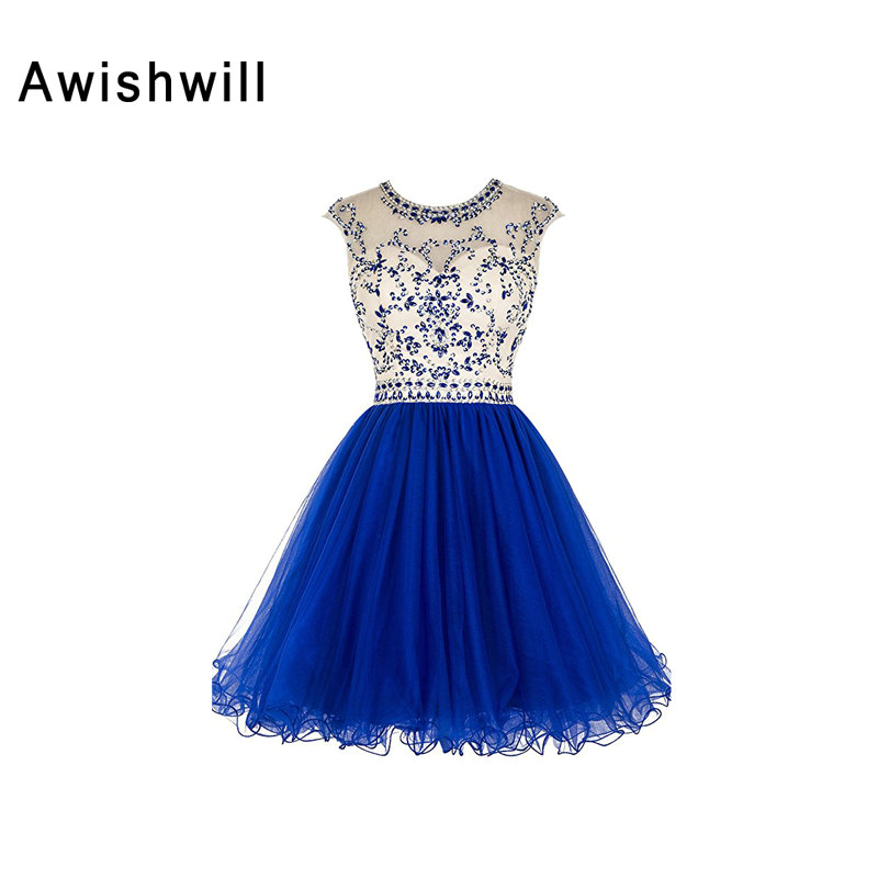 Vestido de Festa Curto New Arrival Cap Sleeve Beadings Tulle Backless Short Prom Dress Cocktail Homecoming Dresses 2019