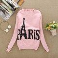 Kawaii Sweat Shirt Women Paris Eiffel Tower Print Hoodie Sweatshirt Women Long Sleeve Pullovers Velvet Hoodie Female Clothes