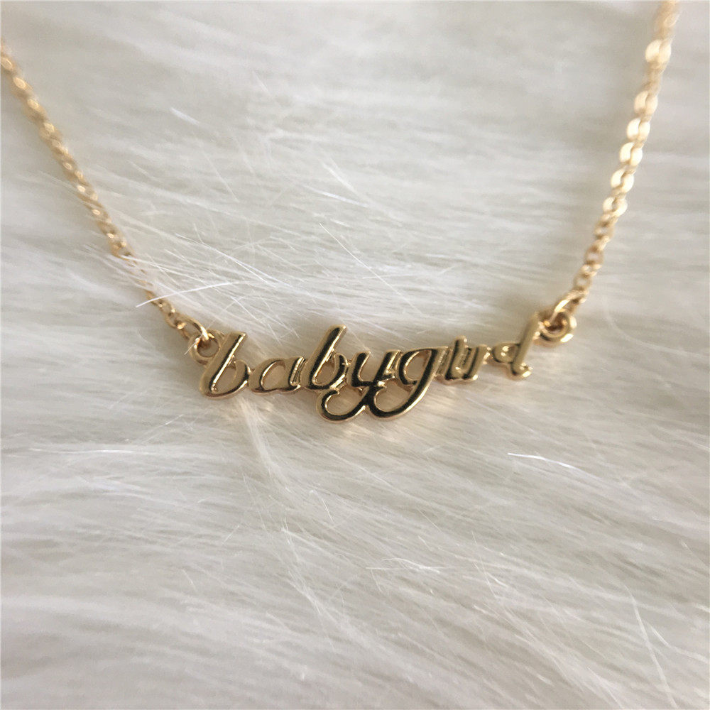 FASHION JEWELRY NECKLACE GOLD COLOR PLATING BABYGIRL LOGO LETTER PENDANT  FOR WOMEN GIRL 85dbdf20c3c2