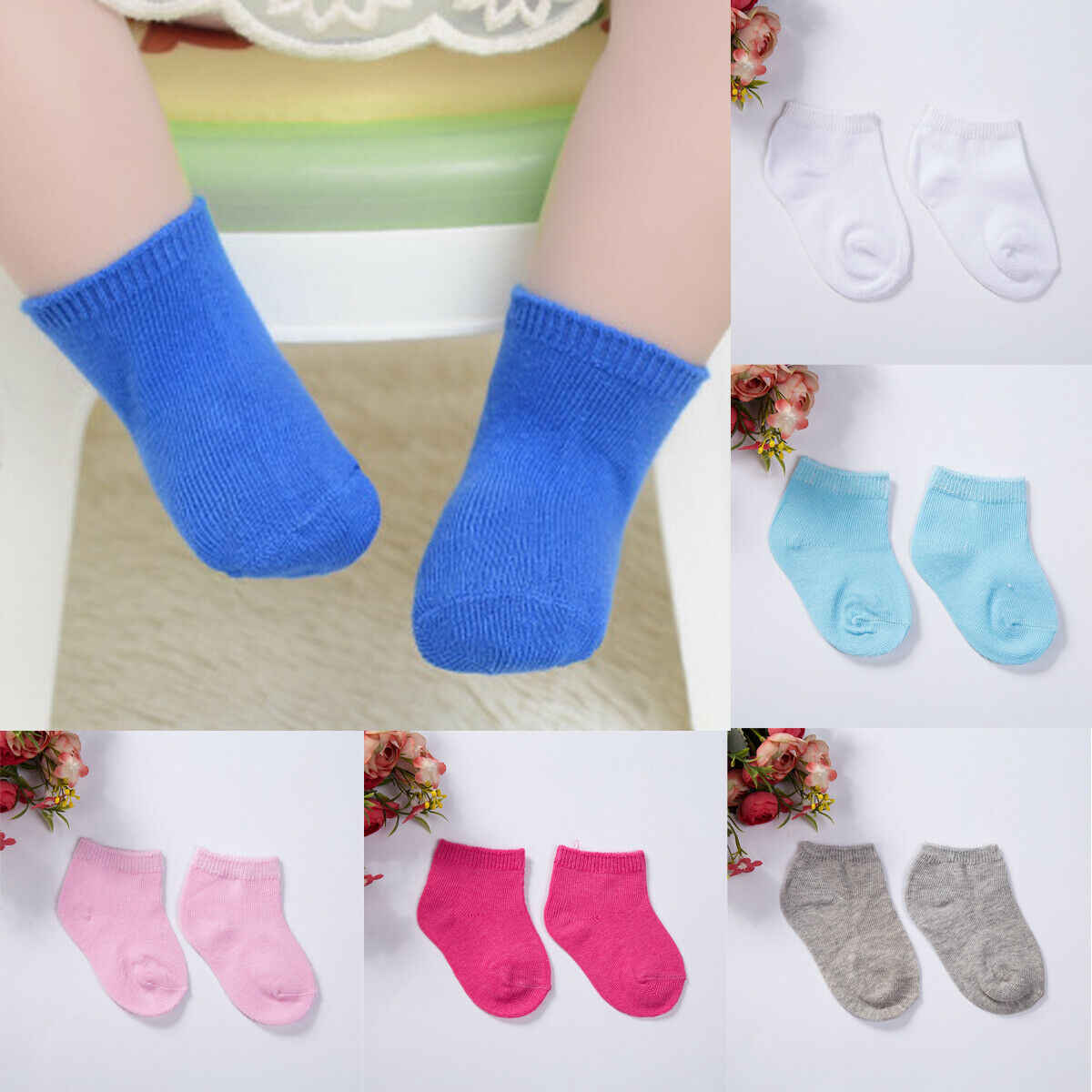 04364da27e1da Soft Spring/Summer Baby Socks Solid Toddler Socks Baby Boy/ Girl ...