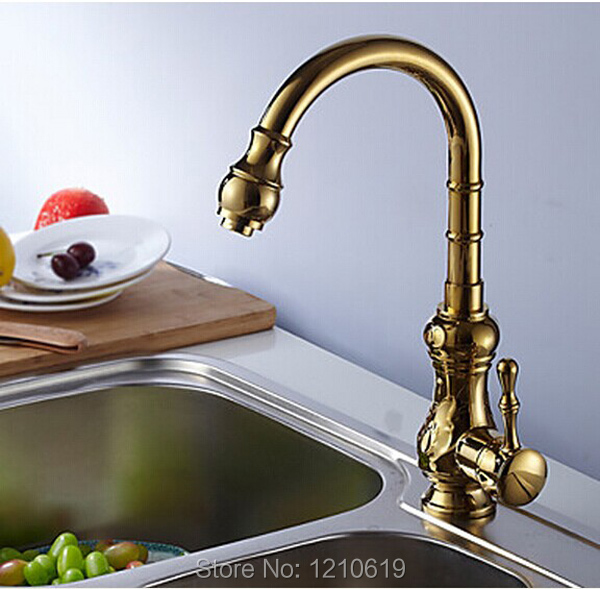 ФОТО New US Free Shipping Wholesale And Retail Deck Mounted Retro Golden Finish Finish One Hole Single Handle Kitchen Faucet Sink Tap