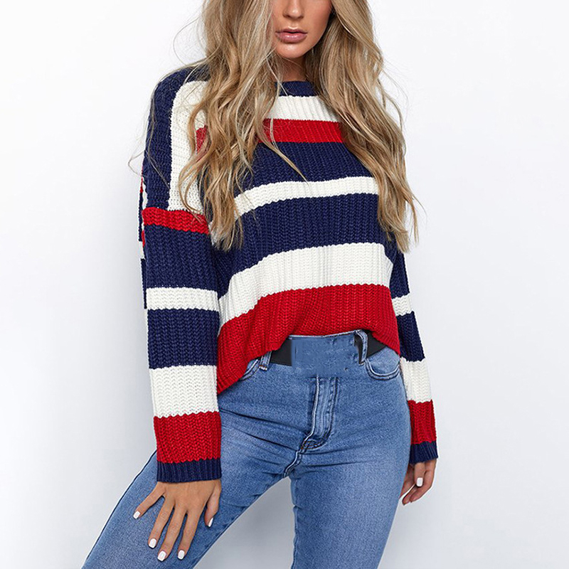 Savabien Women Sweater Autumn Winter Pullover Knitted Sweater Long Sleeve Striped Cropped Sweater Loose Casual Oversized Clothes