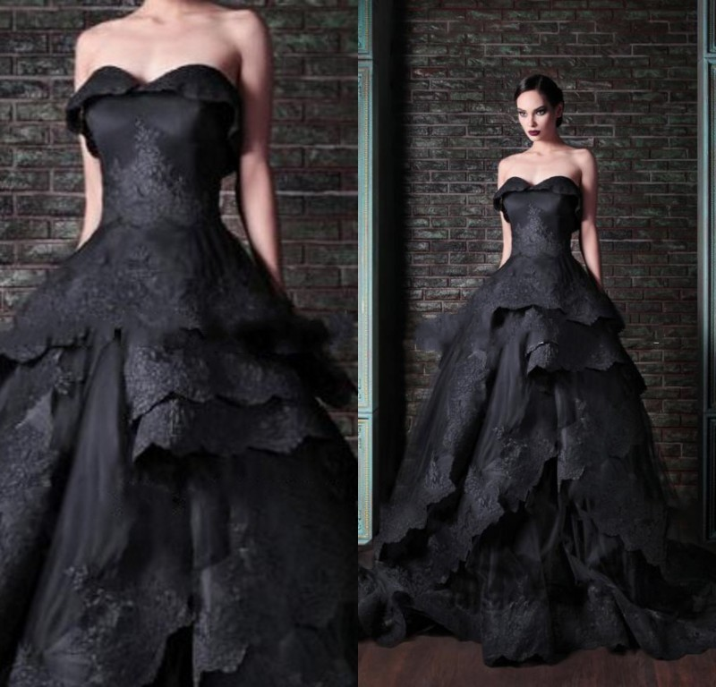 2017 Gothic Wedding Dresses Halloween Victorian Bridal: Actual Image Black Wedding Dress 2017 Gothic Victorian