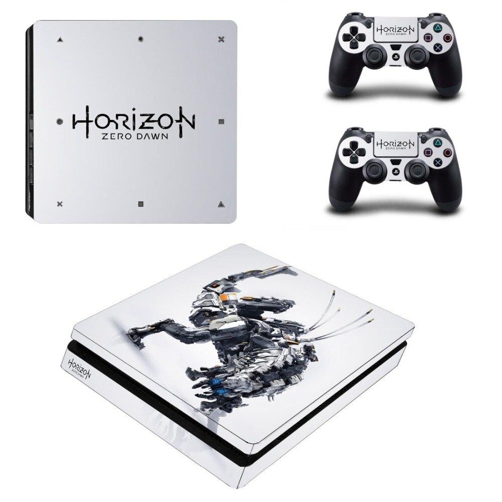 Horizon Zero Alba PS4 Sottile Sticker per PS4 Slim Console e Due Controller di Skins per Sony Playstation 4 Slim Copertura