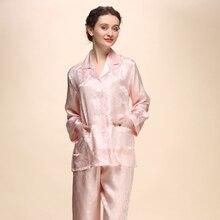New Autumn Women Silk Pajamas Long Sleeve Lady 100% Silk Sleepwear Pijama Women's Pajamas Set 2 Piece Sets Loungewear Clothes