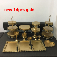 Gold Wedding Dessert Tray Cake Stand Cupcake Pan Party Supply 14PCS / Set white Lace cake decoration plate Cake dish