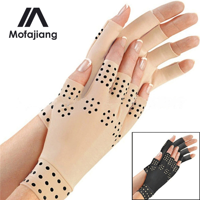 2019 Brand New One Pair Magnetic Anti Arthritis Health Compression Therapy Gloves Half Finger Fingerless Gloves