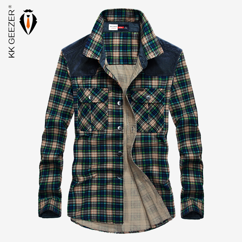 Military Plaid Shirt Men Cotton Long Sleeve Autumn Male Flannel Red Dress Shirts Luxury Army Brand High Quality Casual Fashion