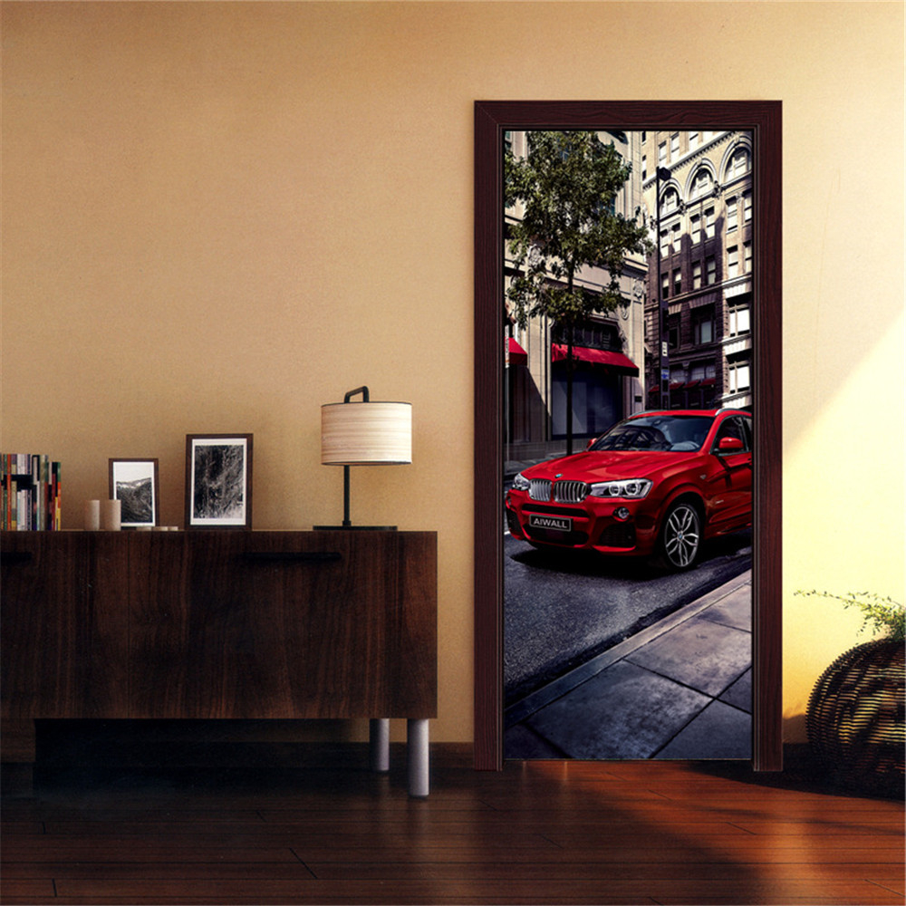 Self-adhesive Wallpaper For Bedroom Living Room Mural Creative Vinyl DIY Retro Bus Car Door Stickers  Renovation Home Decoration
