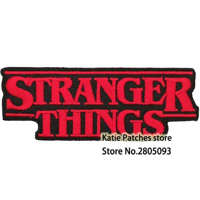 Stranger Things Red Text Logo Badge Iron On Patch Fancy Dress Jacket Backpack Chest Badge DIY
