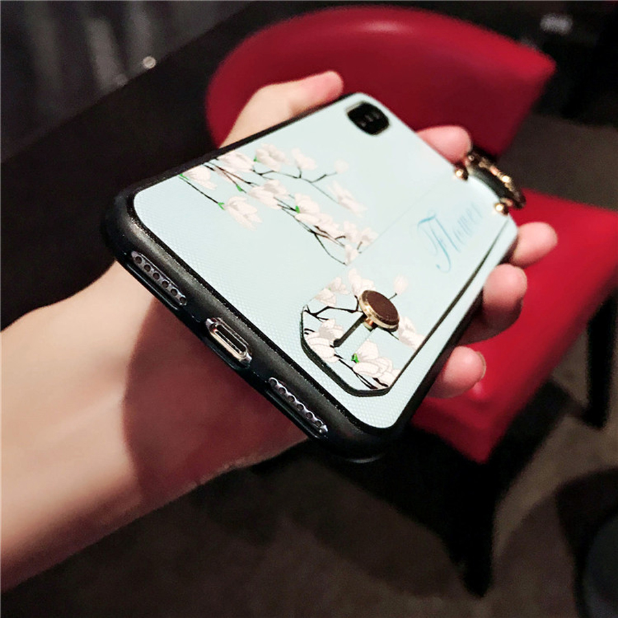 For iphone XS MAX X XR case cover Retro 3d flower painted wristband soft silicon phone bag case for iphone 7 8 plus 6 6s plus in Fitted Cases from Cellphones Telecommunications
