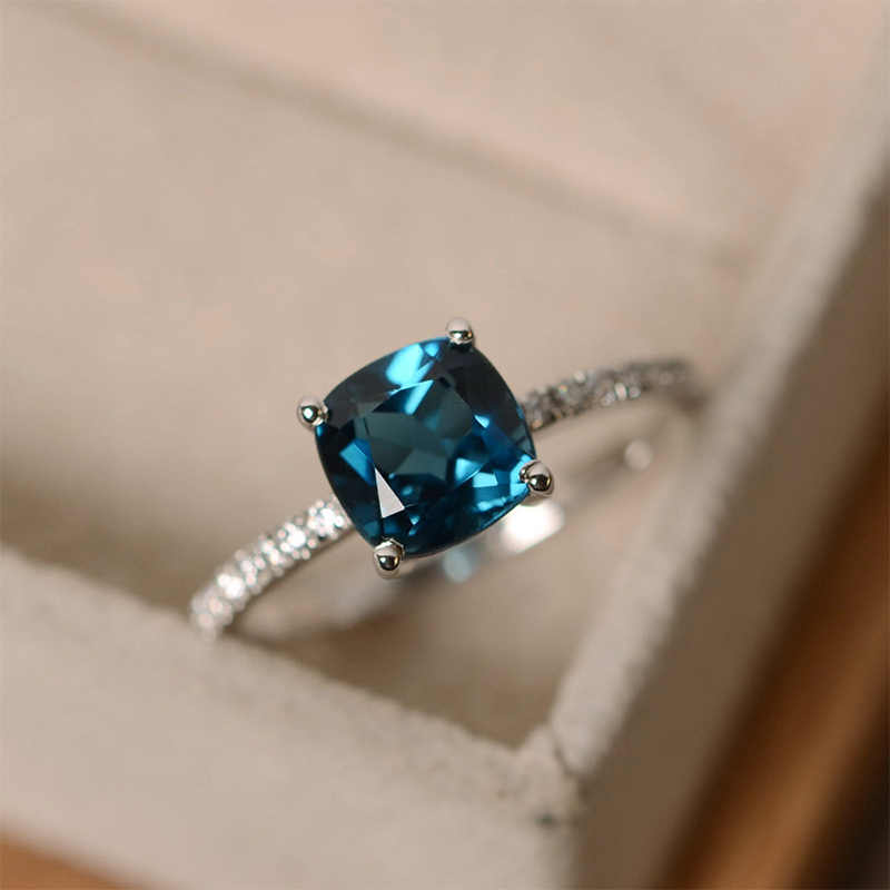 Big Square Stone Zircon Wedding Exquesite Crystal Size6,7,8,9,10 Engagement Blue Green Ring Valentines Gift Colors 1PC Silver