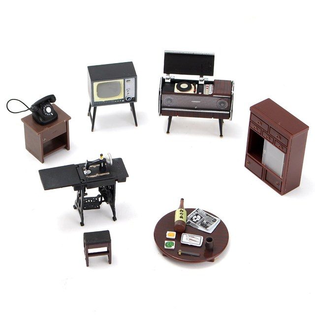 New 7pcs Set Wooden Diy 1 12 Simulation Miniature Dollhouse Furniture Mini