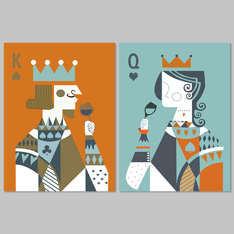 Big size poker King Queen decoration 2pcs playing cards wall art picture spade heart Canvas Painting for living room unframed
