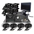 """O Envio gratuito de 4 Canais 7 """"LCD 128G SD Carro Móvel DVR CCTV Sistema de Gravador de Vídeo de 720 P AHD DVR + Câmera AHD Para Ônibus caminhão Van"""