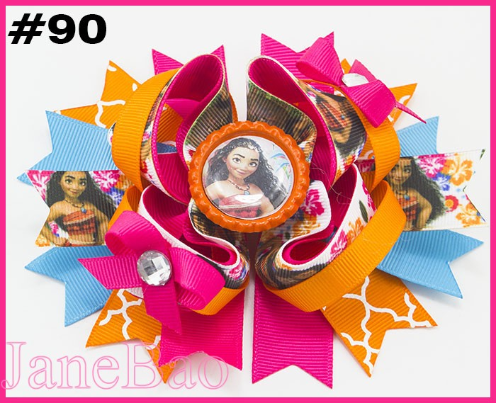 free shipping 30pcs 5 5 Princesses inspired Stacked Boutique Hair Bow Princess hair bow Cartoon Bows