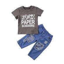 c2bf97516 Niño casual niños ropa Sets camiseta Tops manga corta algodón casual Denim  Vaqueros trajes ropa 1 -6 t