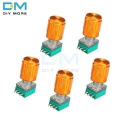 Potenciómetro giratorio 5K 10K 20K 50K 100K B500K Ohm, 3 pines 3 P 6mm, eje moleteado Lineal Simple Tipo B con tapas de aleación de aluminio, 5 uds.