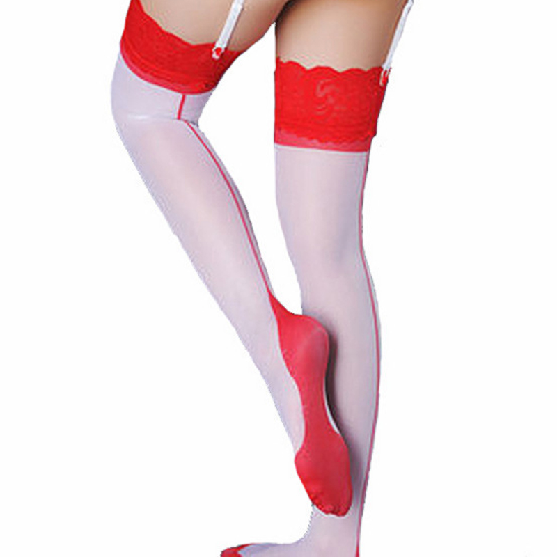 women sexy lace top thigh high stocking with backseam silk stockings pantyhose over knee high socks hot Lingerie