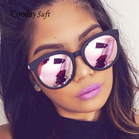 Coodaysuft Cat Eye Sunglasses Brand Design Pink Vintage Women Mirror UV400 Sun Glasses Vintage Cateye Flat