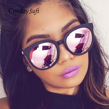 Coodaysuft Cat Eye Sunglasses Brand Design Pink Vintage Women Mirror UV400 Sun Glasses Vintage Cateye Flat lens Female