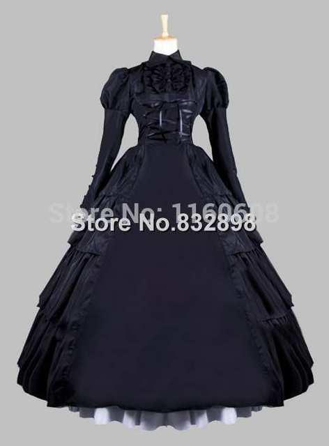 Online Shop 19th Century Gothic Black Victorian Era Ball Gown ...