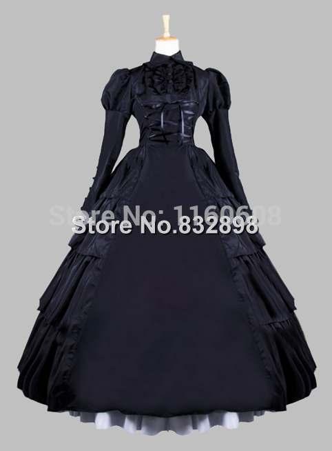 19th Century Gothic Black Victorian Era Ball Gown Stage Costume