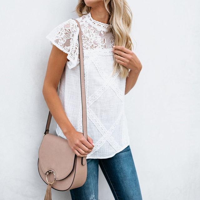 vintage tops Womens white Lace Patchwork Flare Ruffles Short Sleeve Cute Floral Shirt Blouse modis Top camisetas verano mujer#es