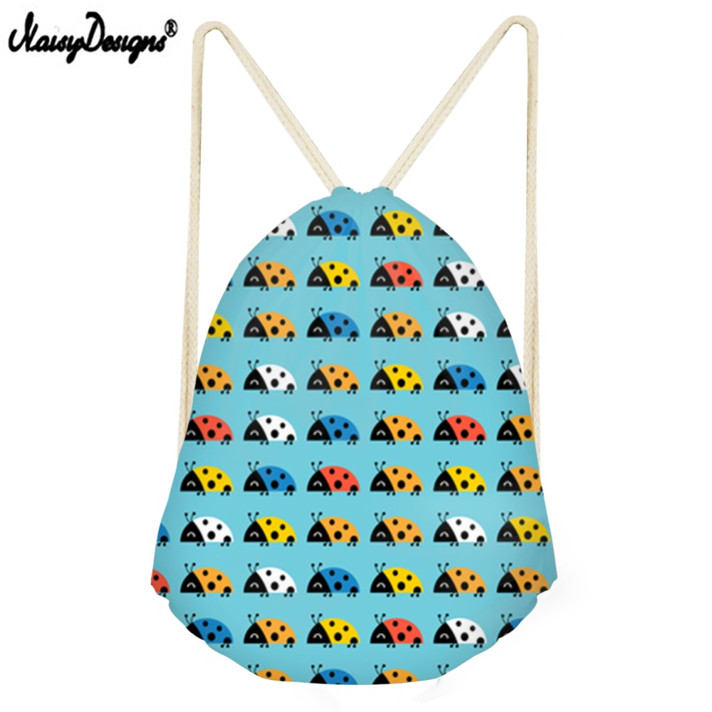 NOISYDESIGNS Drawstring Bag Zaino Backpack For Desigual Ladybug Small Children Backpacks Girls Daily Sport Bags Drop
