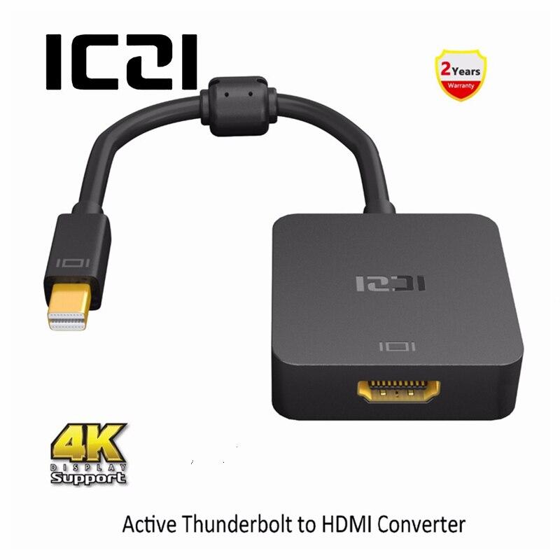 ICZI Thunderbolt Mini DP a HDMI Adaptador 4 K 60Hz Mini Displayport 1,2 a HDMI 2,0 Convertidor para Macbook surfacebook negro