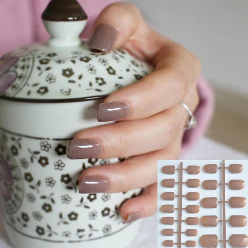 Świecą światła czekoladowe kolor brązowy 24 sztuk słodkie cukierki krótki fioletowo-czerwony sztuczne fałszywe sztuczne paznokcie pełne owinięte porady