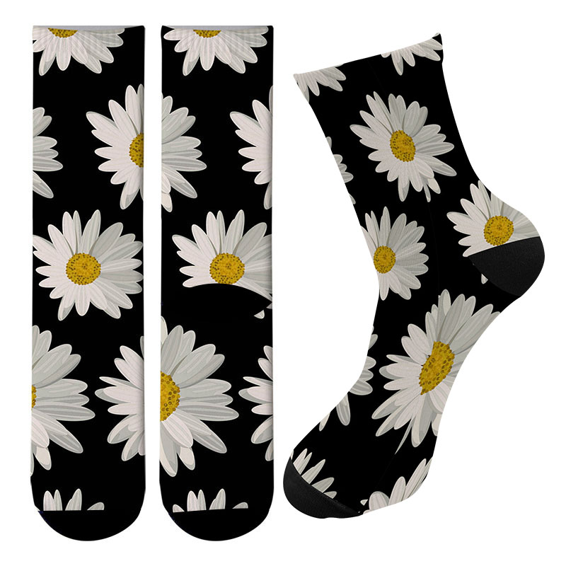 New 3d Printed Daisy Pattern Long Socks Kawaii Flower Men Cotton Crew Socks Harajuku Funny Women Knee Socks Street Trend Socks