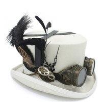100% шерсть стимпанк Top Hat женщин steam punk передач фетровых шляпа для мужчин шляп стимпанк очки партии выполнение cap