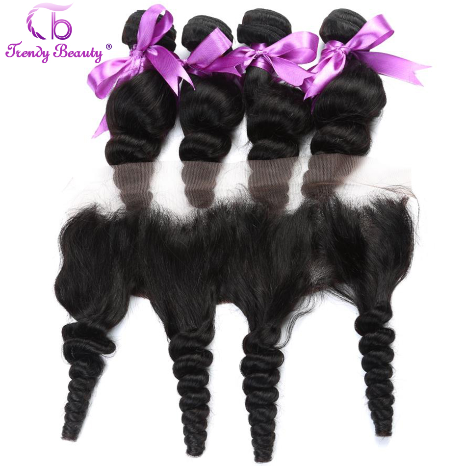 Brazilian Loose Wave Human Hair 4 Bundles with 1Pc Ear to Ear 13X4 Lace Frontal Closure