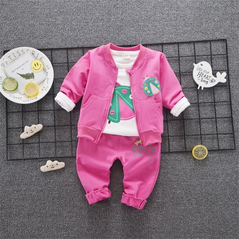 Baby girl clothes suit 2018 Autumn cotton newborn childrens costumes cartoon T Shirt+Coat+Pants 3pcs/set infant boy clothing
