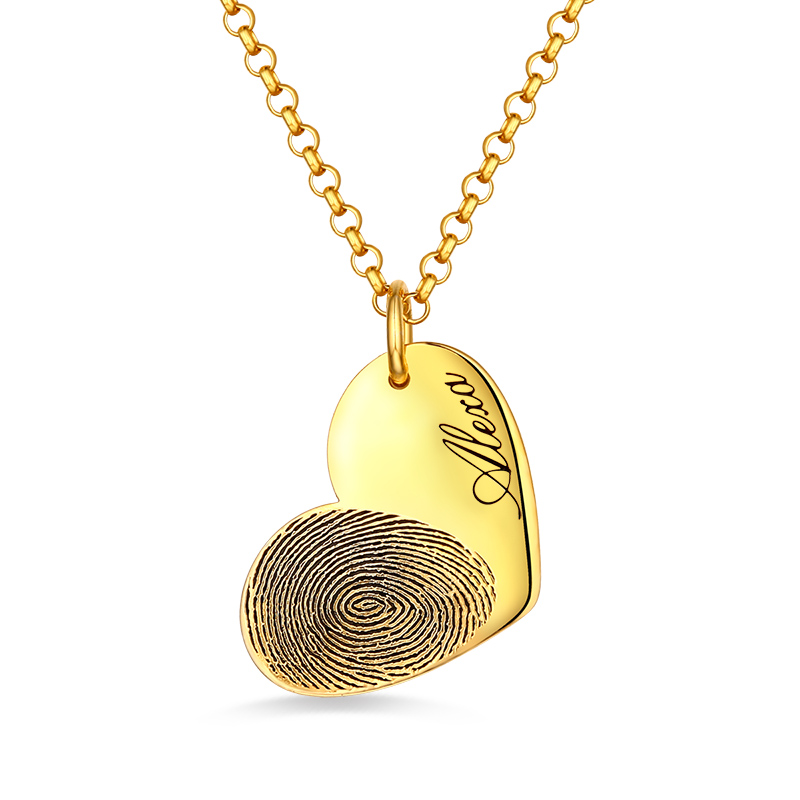 купить AILIN Personalized Female Fingerprint Heart Necklace With Name In Gold Memorial Jewelry For Her Special Gift For Girlfriend недорого