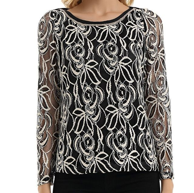 New 2016 women Summer Autumn Lace Chiffon blouse Full sleeved shirt female casual Embroidery tops Hollow out plus size S~5XL